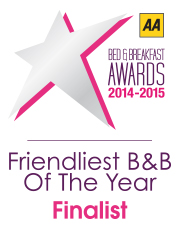 AA Friendliest B&B of the Year Finalist 2014 - 2015 logo